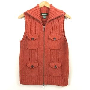 Eddie Bauer Orange Full Zip Knit Sweater Vest S